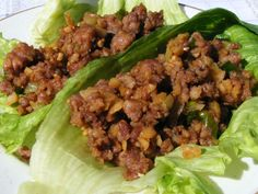Minced Pork served in lettuce leaves as a starter to a Chinese meal. Very, very nice and yummy! Lettuce Recipes, Pork Lettuce Wraps, Asian Recipes, Healthy Recipes, Ethnic Recipes, Chinese Recipes, Healthy Food, Mince Recipes, Cooking Recipes