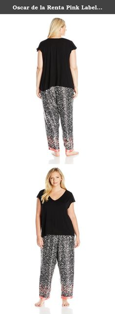 Oscar de la Renta Pink Label Women's Plus Size Charmeuse Crop Pajama, Black Monarch Border Print, 2X. Feminine and chic, the knit top and charmeuse crop pant pajama set is irresistible in every way.