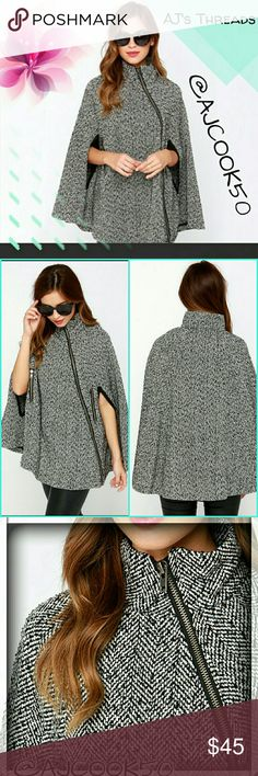 ✨Flash Sale✨Tweed Side Zipper Fashion Cape ✨Sale price firm This super cute tweed cape is going to be the ultimate must have this fall and winter and will go fast! It has a side zip up to the neck with 2 slits on the side for your arm. Faux pockets with zippers on side. Anti shrink, anti wrinkle, breathable, quick dry and water proof.  Material: Woolen Material, polyester Bundle and save 10% Free gift with purchase of $20 and over Jackets & Coats Capes