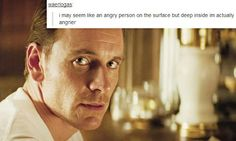 """i may seem like an angry person on the surface but deep inside im actually angrier"" Erik Lehnsherr + text post"