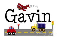 Fabric WALL NAME DECALS Transporation Car Truck Plane Boys Bedroom Baby Nursery Wall Name Decal