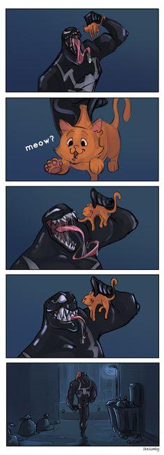 See dad, venom is not ALL evil. Besides, the new venom movie proves it. Venom Comics, Marvel Venom, Marvel Dc Comics, Marvel Heroes, Marvel Avengers, Marvel Jokes, Marvel Funny, Funny Comics, Spiderman Art