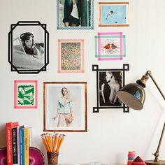 Cadres photos muraux en masking tape