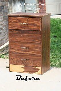 before beat up trashed old dresser