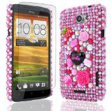 JJOnline Hot Pink Barbie Diamonte Bling Series Hard Fitted Case Cover For HTC One-X S720e Plus Free Screen Protector