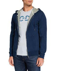 Slate & Stone Men's Denim Knit Hoodie In Blue Slate Stone, Short Sleeves, Long Sleeve, Full Zip Hoodie, Bomber Jacket, Men's Denim, Street Style, Man Shop, Hoodies