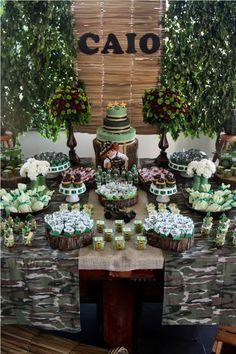 Resultado de imagem para decoração festa camuflada