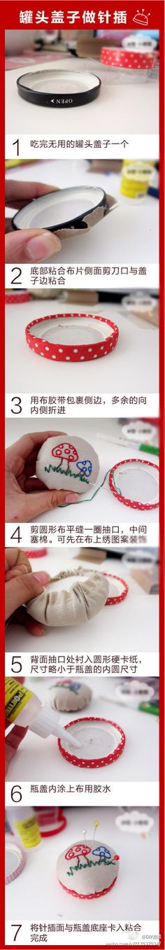 Pin cushion diy @Alicia Holbrook [that chinese baby would come in handy right about now to help with those directions...] ;)