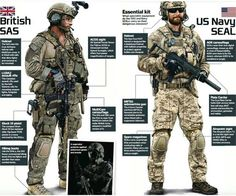 British SAS and Us Navy Seal Gear overview Military Gear, Military Police, Military Weapons, Military Equipment, Military History, Military Humor, Military Spouse, Airsoft, Navy Seal Gear