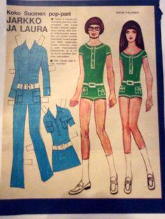 Paper Dolls Jarkko&Laura 1969 Fabric Doll Pattern, Fabric Dolls, Vintage Paper Dolls, Teenage Years, Crafty Craft, Old Toys, Paper Crafts, Retro, Finland