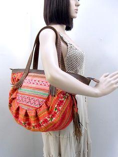 Half Circle Handbag Vintage Fabric Hand Woven HMONG Genuine Leather Strap  (BG036L.801) ca02b9de2f832