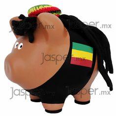 Alcancía de cerdito - rasta - reggae - bob marley