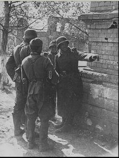 """kruegerwaffen: """" A group of German soldiers in the ruins of Stalingrad.1942. """""""