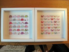 DIY Nursery Art: Butterfly & Elephant Punch Collages...Marthat stewart punch out tool at Micheals with different colored paper and shadow box