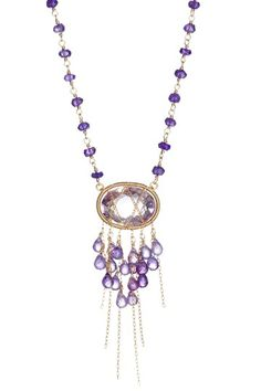 Wrapped Amethyst Drop Rosary Necklace