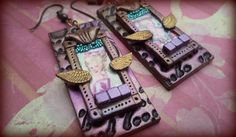 Marie Antoinette, polymer clay mixed-media earrings