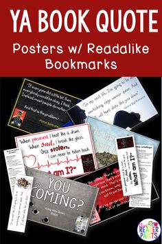These YA Book Quote posters will look great in any high school library or classroom! Includes six full-color, high-resolution posters, each with a coordinating double-sided readalike bookmark. Library Lesson Plans, Library Skills, Library Posters, Quote Posters, School Book Covers, Ya Book Quotes, Reading Incentives, Teacher Librarian, Cover Quotes