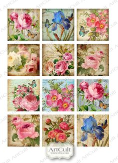 SHABBY CHARM  Digital Collage Sheet Printable Mini tags by ArtCult, $4.60 supplies: http://www.ecrafty.com/c-6-photo-jewelry.aspx
