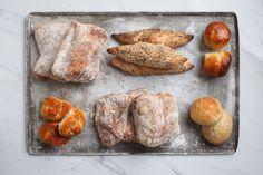 You're looking at some ciabattas, spelt sticks, rolls and garlic knots. Garlic Knots, Artisan Bread, How To Make Bread, Sticks, Bakery, Rolls, Tasty, Treats, Breakfast
