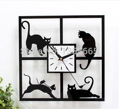 Черные  кошка.  Часы настенные, кварцевые. Современный дизайн 3D,
