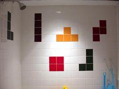 Tetris in the shower #tetris #creativetiles