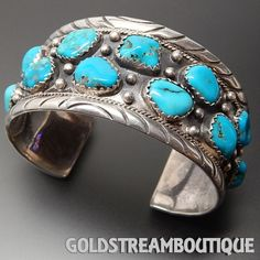NAVAJO STERLING SILVER TURQUOISE BOULDER WIDE CLUSTER UNISEX STAMP CUF – Gold Stream Boutique