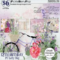 Lolly Bag 2 - PU {by DitaB Designs} 12th Birthday, Birthday Celebration, Happy Birthday, Lolly Bags, Digital Scrapbooking, Design, Products, Happy Brithday, Urari La Multi Ani