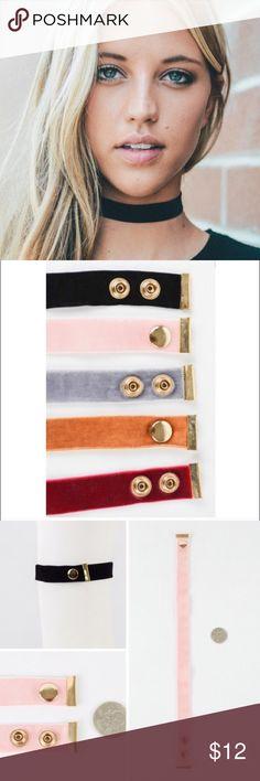 Black Velvet Chocker with double snap closure! 100% Velvet Chocker Strap Necklace! Jewelry Necklaces