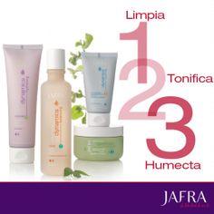 Limpia, tonifica y humecta. Nuestros regímenes de 3 pasos ayudarán a conservar la juventud de tu piel. Pregúntame cuál es el indicado para ti. http://jafra.me/8th http://jafra.me/8tj