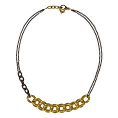 Top Brass by Liz Law, 56$ from $80, * Material Used: -Vintage brass -Black chain made of tightly wound silk -Black enamel chain -Brass clasp