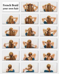 French Braid Your Own Hair hair beauty long hair braids bun how to diy hair hair…