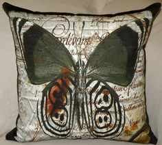 Pillow Cover - CARDEVANT BUTTERFLY - Hand Made - Fits 18x18 Insert  -  original design. $55,00, via Etsy.