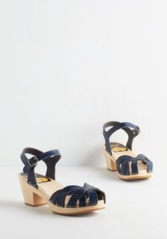 Walk Bliss Way Heel. Ensure a merry meander in these navy blue sandals from Swedish Hasbeens! #blue #modcloth