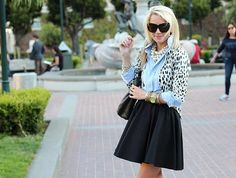 atlantic pacific - I have a really nice taffeta black skirt that I could totally dress down with a denim blouse - not sure about the cardigan though Atlantic Pacific, Leopard Print Cardigan, Vogue, Fall Outfits For Work, Her Style, Passion For Fashion, Autumn Winter Fashion, Cute Outfits, Skirt Outfits