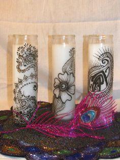 Henna CandleWedding Candle Trio Hannukah by MEHANDIMAHALHenna, $65.00