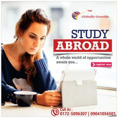 Move abroad for Higher Education With Brooklyn Overseas Consultants Study Abroad Call today for more info- Address -. Overseas Education, Ielts, Social Media Design, Instagram Tips, Study Abroad, Higher Education, Flyer Template, Media Marketing, Brooklyn