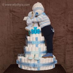 Blue Elephant and Baby Boy Diaper Cake