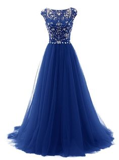 Tideclothes Long Beads Prom Dress Tulle Cap Sleeves Evening Dress Royal Blue US4