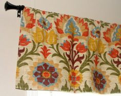 "Waverly Santa Maria Adobe Designer Valance 50"" wide x 16"" long Lined with Cotton Muslin Orange Tan Teal Olive Green Brown Golden Yellow"