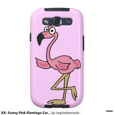 Funny Pink Flamingo Cartoon Galaxy SIII Covers #flamingo #phone #galaxysill #cover And www.zazzle.com/inspirationrocks*