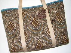 Quilted Tote Bag, Modern Brown and Turquoise Scallop Print, Quilted Nautical Shoulder Bag, Canvas Shopping Bag , Quiltsy Handmade by VillageQuilts on Etsy