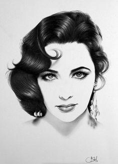 ART :: Elizabeth Taylor Portrait Minimalism Pencil Drawing - by Ileana Hunter