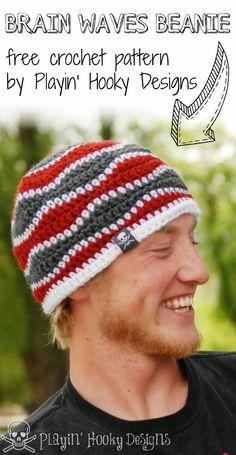 Brain Waves Beanie: FREE crochet pattern by Playin' Hooky Designs