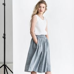 This Linen skirt with deep pockets, what wouldn't go with it?! / Shipping from Lithuania, the Linen brand called #notPERFECTLINEN, items are handmade in a small studio in small quantities of washed linen fabric, specially woven for them by their local linen manufacturers. The procedure of making these items takes time and effort, with the items double washed once they are made. Only after such process the linen reaches extra softness and natural wrinkles.