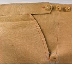 DPC On Making Trousers: A Moveable Waist, Extras; Part 7 (start with partDavid Coffin - moveable waist includes video on altering pantsThere will be times these three buttons will absolutely save my life. Previous Pinner: Sewing Detail: A Moveable Wa Tailoring Techniques, Techniques Couture, Sewing Techniques, Sewing Pants, Sewing Clothes, Sewing Tutorials, Sewing Patterns, Clothes Patterns, Sewing Tips