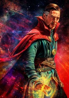 I'm so in love with Benedict Cumberbatch as Doctor Strange ! Such a good excuse to paint space and stars ans stuff Marvel Doctor Strange, Doc Strange, Strange Tales, Marvel Dc Comics, Marvel Heroes, Marvel Avengers, Marvel Characters, Marvel Movies, Comic Movies