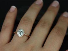 Celeste 14kt Rose Gold Oval FB Moissanite Pave Halo Engagement Ring