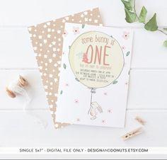 Bunny Birthday Invitation Easter Spring Girl by DesignAndDonuts