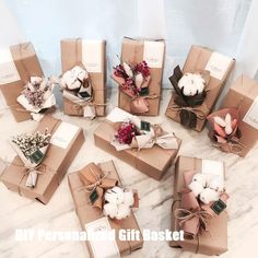 DIY Personalized Gift Baskets gift for anyone DIY Personalized Gift Basket For Anyone, Girlfriend, Kids, Mom Etc - Owe Crafts Christmas Gift Box, Christmas Gift Wrapping, Birthday Gift Wrapping, Wedding Gift Wrapping, Christmas Baskets, Christmas Trees, Creative Gift Wrapping, Creative Gifts, Wrapping Ideas