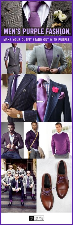 Purple Trend: Purple is an elegant color that gives class to your outfit. Check out these purple looks! More Fashion Trends @ rickysturn/mens-fashion Fashion Moda, Mens Fashion, Fashion Outfits, Fashion Ideas, Fashion Tips, Fashion Trends, Sharp Dressed Man, Well Dressed Men, Terno Slim